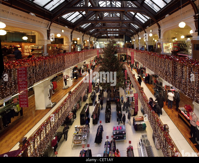 The Jenners Dept store Xmas Tree Edinburgh Scotland - Stock Image