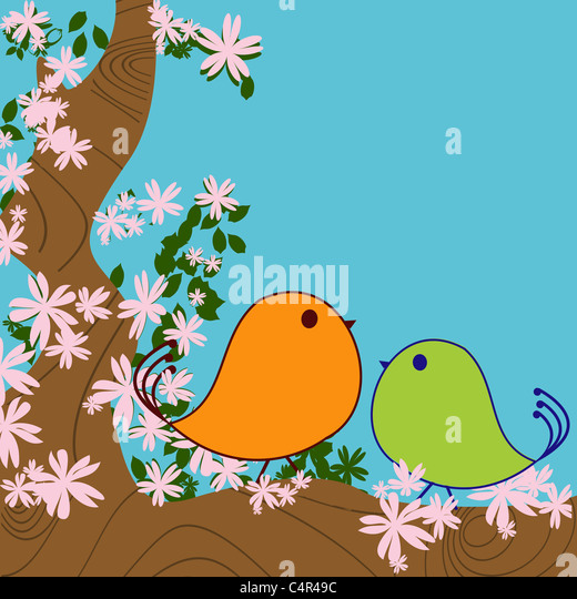 Cute birds and blossom tree background - Stock Image