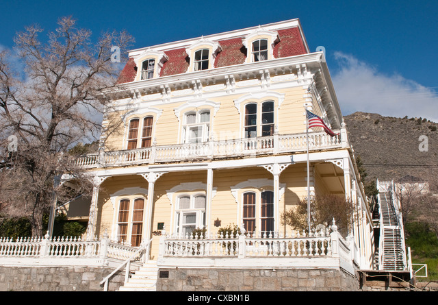 Savage Mansion dating from around 1861, Virginia City, Nevada, United States of America, North America - Stock Image