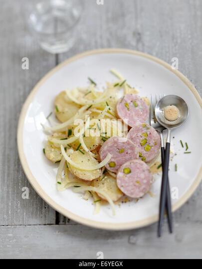 Potato salad with sausage from Lyon - Stock Image
