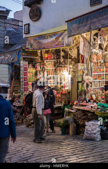 Witches Market, Calle de las Brujas, in La Paz, Bolivia at dusk, popular tourist attraction and traditional medicine - Stock Image