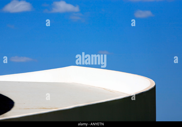 architecture detail of the futuristic national museum of brasilia city - Stock Image
