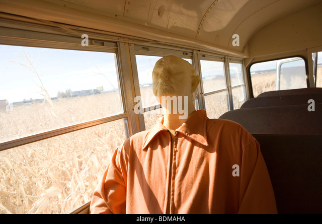 mannequin dressed in prisoner's clothing, riding in a school bus, abandoned field, corn, farm, creepy, halloween - Stock Image