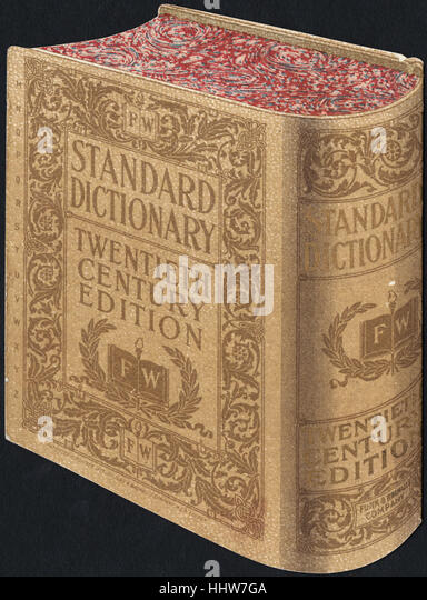 Standard Dictionary, twentieth century edition. [back]  - Leisure, Reading, and Travel Trade Cards - Stock Image