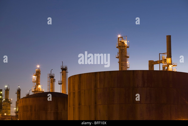 Oil Refinery at dusk, Montreal east, Quebec, Canada - Stock Image