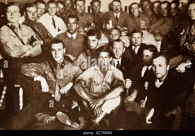 Nazi Brown Shirts gather with Adolf Hitler before his appointment as german Chancellor - Stock Image