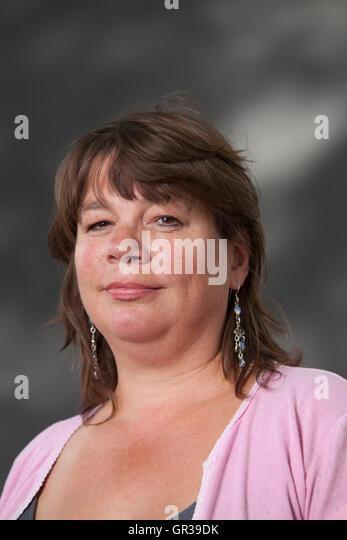 Lucy Popescu, the writer, editor and arts critic, at the Edinburgh International Book Festival. Edinburgh, Scotland. - Stock-Bilder