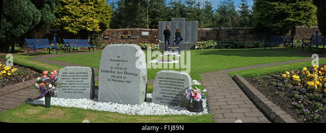 Wide shot with visitors at the Lockerbie PA103 memorial, Scotland - Stock Image