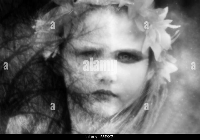 Conceptual portrait of mother nature - Stock Image