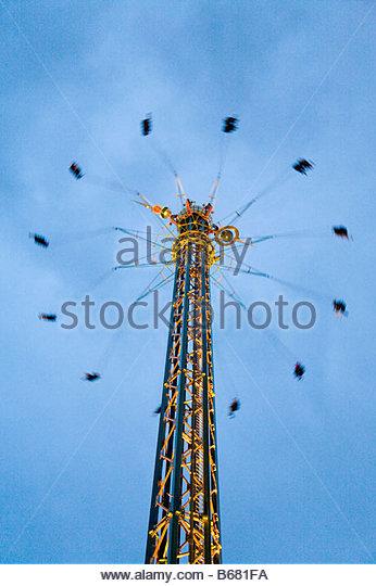 The tallest merry-go-round in the world, carousel, Tivoli Gardens, Copenhagen, Denmark - Stock-Bilder
