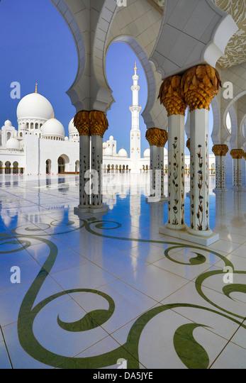 United Arab Emirates, UAE, Middle East, Abu Dhabi, City, Sheikh Zayed, Mosque, Mosque, Zayed, architecture, black, - Stock Image