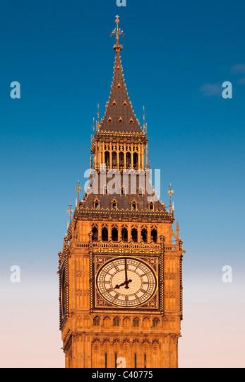 Great Britain, Europe, England, London Big Ben, tower, rook, clock, watch, - Stock Image