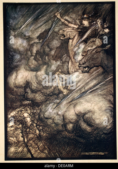 'The ride of the Valkyries', 1910.  Artist: Arthur Rackham - Stock Image