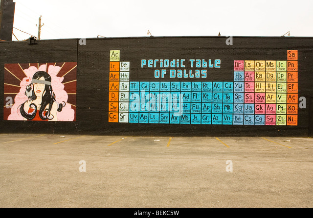 The Periodic table of Dallas on the wall of the Door, formerly Gypsy Tea Room in the deep ellum district of dallas, - Stock Image