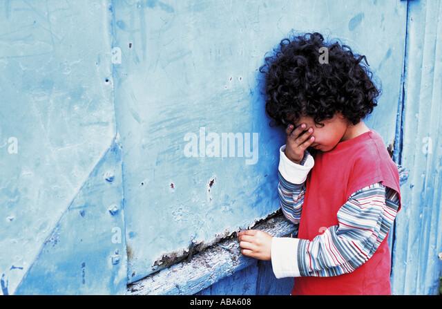 Boy crying - Stock Image