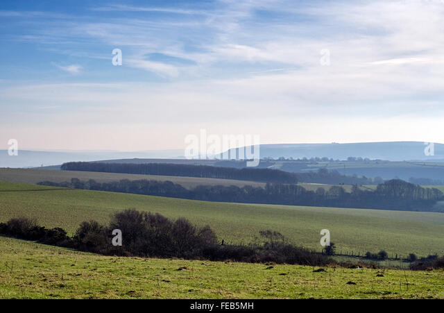 View to the south east across the South Downs near Ditchling Beacon - Stock Image