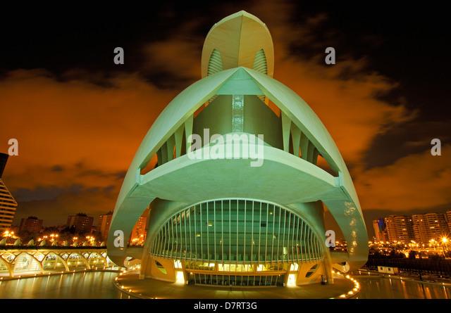 Palace of Arts Reina Sofia, by S. Calatrava. City of Arts and Sciences. Comunidad Valenciana, Valencia. Spain - Stock-Bilder