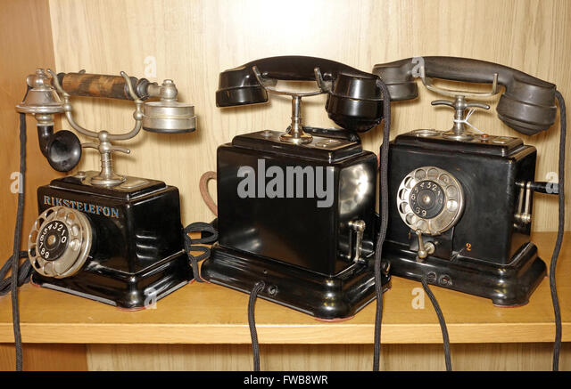 Swedish made vintage telephones from late 1800ts. - Stock Image