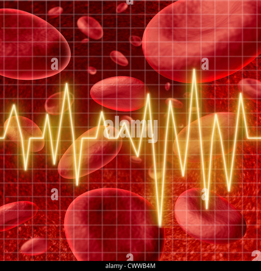 Blood cells with an ekg heart monitor symbol on a graph grid representing the concept of healthy human artery circulation - Stock Image