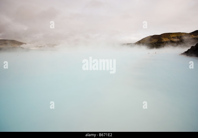 Blue lagoon geothermal hot springs - Stock Image