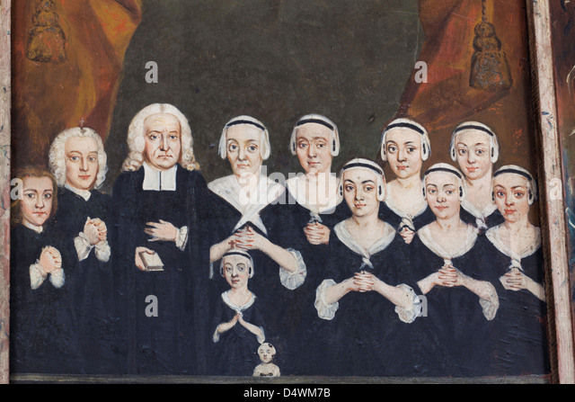 Family of a the swedish priest,Christen  Wilspecht his wife and seven daughters and two sons. - Stock-Bilder