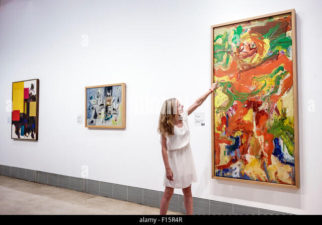 Madrid Spain Europe Spanish Centro Paseo del Prado Museo Thyssen-Bornemisza Museum art gallery exhibition collection - Stock Image