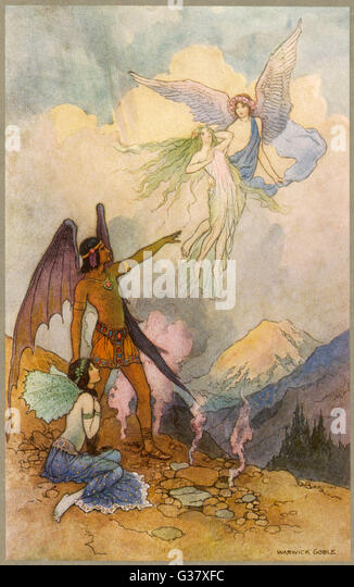 Fairies in a mountain  landscape - Stock Image