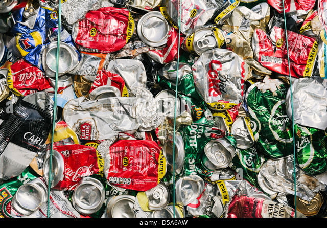 aluminum (aluminium) drinks cans crushed for recycling - Stock Image