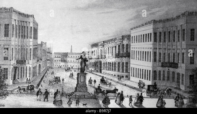 Odessa Primorsky boulevard print of 1814 1821 Reproduction - Stock Image