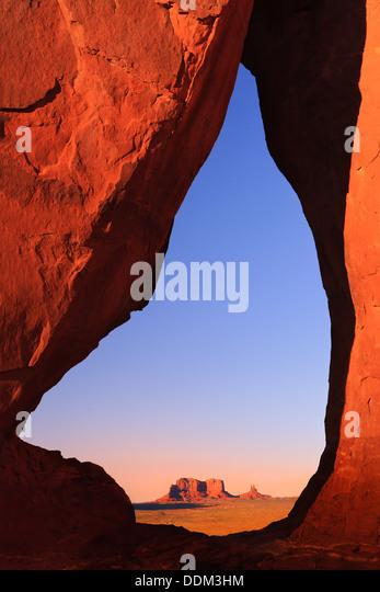 Teardrop Arch at sunset, Monument Valley, Utah - Arizona - Stock Image