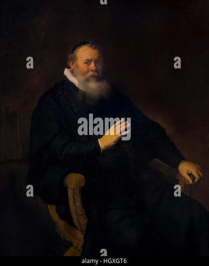 Portrait of Eleazar Swalmius, Minister of Amsterdam, by Rembrandt, 1637, Rembrandt House Museum,  Rembrandthuis, - Stock Image