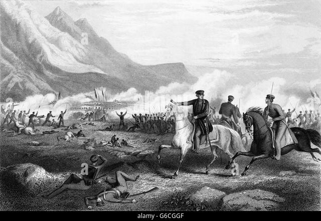 1840s FEBRUARY 1847 GENERAL ZACHARY TAYLOR DIRECTING TROOP BATTLE OF BUENA VISTA DURING MEXICAN AMERICAN WAR - Stock-Bilder