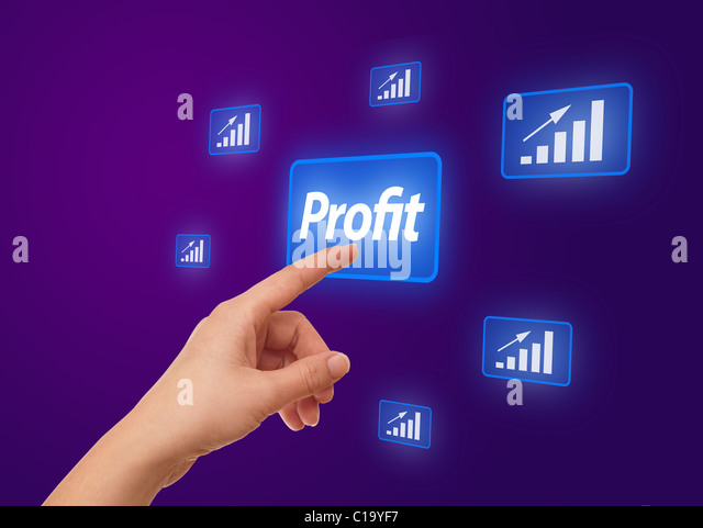 woman hand pressing Profit button - Stock Image