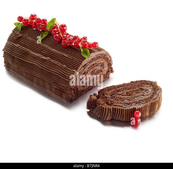 chocolate roulade swiss roll - Stock Image