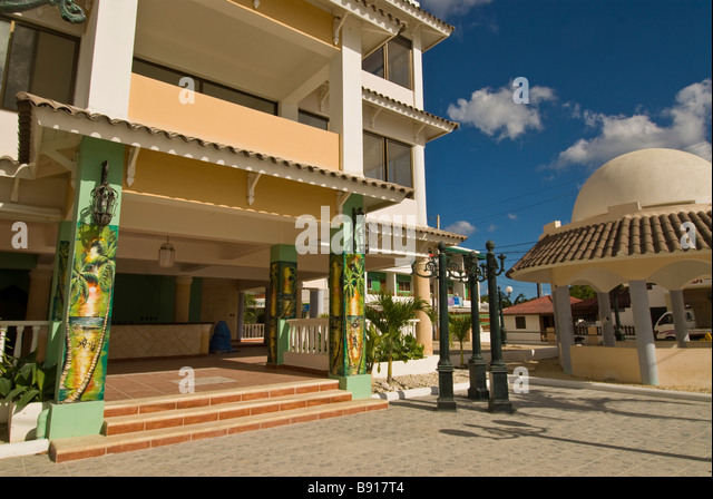 Bayahibe fishing village colorful downtown square Dominican Republic southeast coast tourist destination Isla Saona - Stock Image