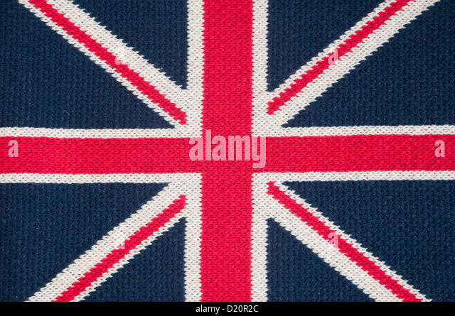 Union Jack / flag - machine knitted woollen scarf. - Stock Image