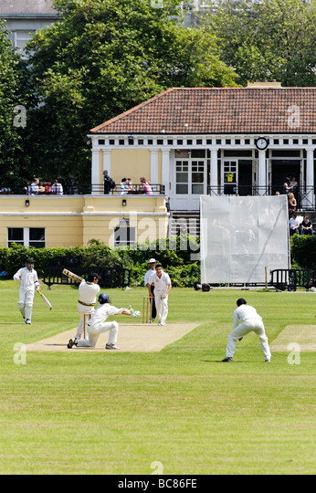Match at Trinity College cricket club grounds in central Dublin Republic of Ireland - Stock Image