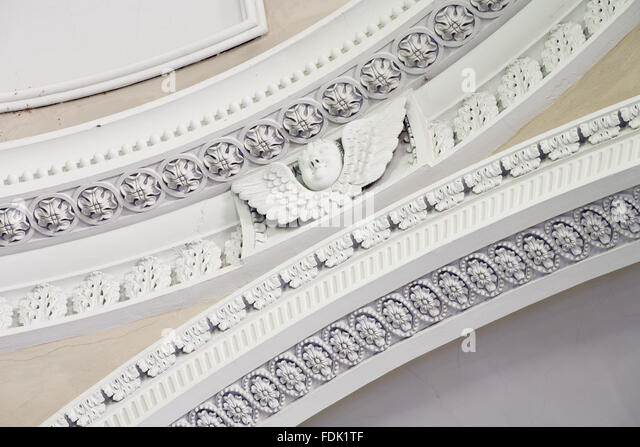 Detail of the ceiling plasterwork in the Palladian Chapel, begun in 1760 to the design of James Paine, at Gibside, - Stock-Bilder