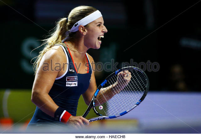 Tennis - BNP Paribas WTA Finals - Singapore Indoor Stadium - 27/10/16 Slovakia's Dominika Cibulkova celebrates during - Stock Image