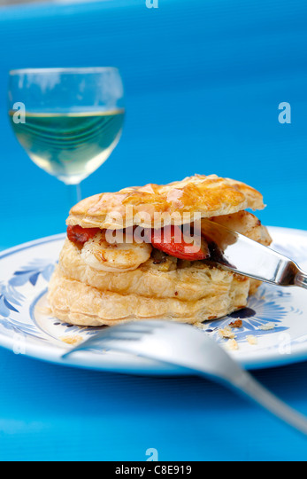 Individual scallop flaky pastry pie - Stock Image