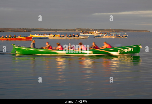 ladies gig race isles of scilly september - Stock Image