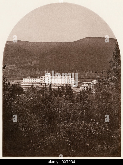 Fabyan House, a resort hotel in Crawford Notch of the White Mountains, New Hampshire, 1870s. - Stock-Bilder