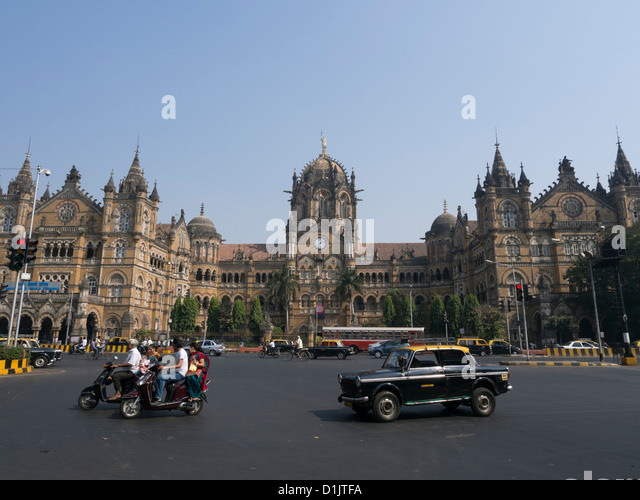 Chhatrapati Shivaji Terminus or Victoria Station Mumbai India - Stock Image