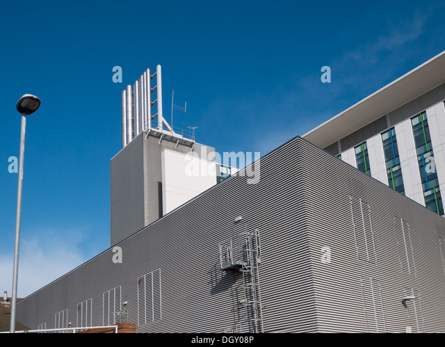 Chimney on root at Kingsmill Hospital in Mansfield - Stock Image