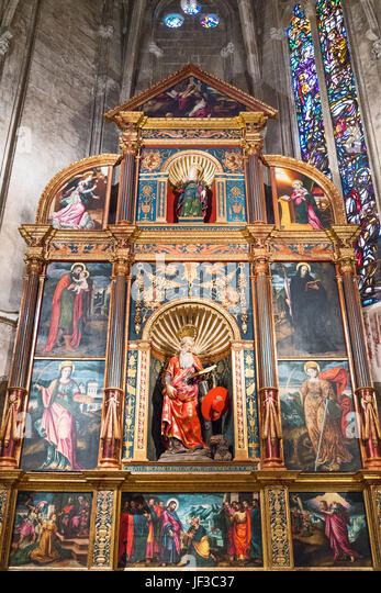 Palma de Majorca, Spain, Sacred paintings and sculpures of a chapel of the Cathedral - Stock Image