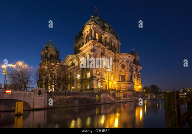 Berlin Cathedral or Berliner Dom reflected in the River Spree, Berlin, Germany - Stock Image