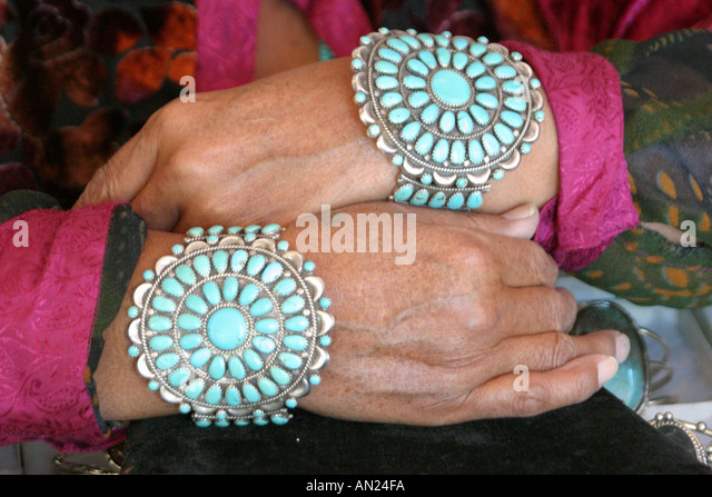 Albuquerque New Mexico State Fair Navajo Native American Indian Village jewelry for sale - Stock Image