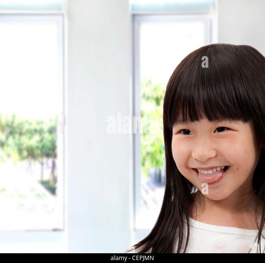 Adorable asian little girl - Stock Image