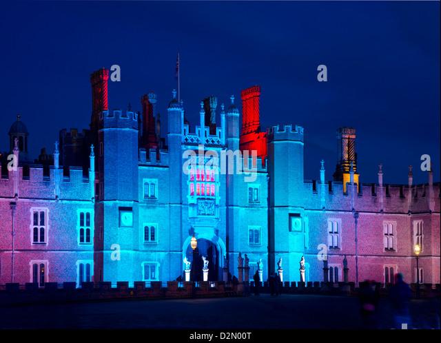 A light show at Hampton Court Palace, Greater London, England, United Kingdom, Europe - Stock Image