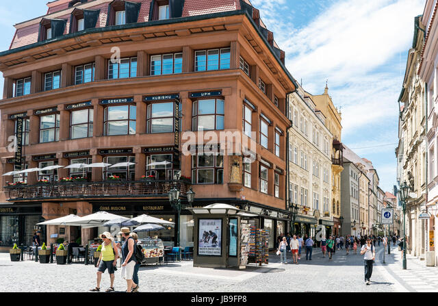 Prague, Czech Republic, May 28, 2017.-Confluence of the streets Ovocny and Celetna with view of a famous cafe and - Stock Image
